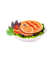 grilled steak on plate with vegetables vector image vector image