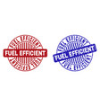 grunge fuel efficient textured round stamps vector image vector image