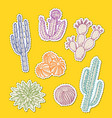 hand drawn desert cacti stickers set vector image vector image
