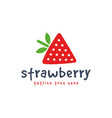 hand drawn strawberry logo template icon cute vector image