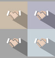 handshake icon with shadow on colored backgrounds vector image vector image