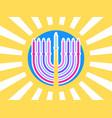 happy hanukkah hanukkah candles menorah with nine vector image vector image