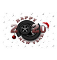 happy new year 2020 and car wheel vector image vector image