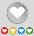 Heart Love icon sign Symbol on five flat buttons vector image vector image