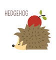 hedgehog with apple on back childish character vector image vector image
