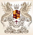 heraldic design with dragons fleur de lis shield vector image vector image