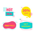 hot deal sale set tags icons and signs vector image