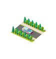 isometric right view ambulance vector image vector image