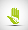 Logo of the human hand with a leaf vector image vector image