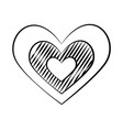 love heart doodle on white background vector image