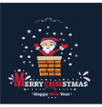 merry christmas banner santa claus stuck in the vector image