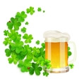 Mug of light beer on green clovers swirl vector image