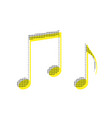 music notes sign yellow icon with square vector image