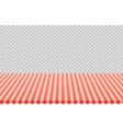 picnic table with red checkered pattern vector image