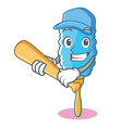playing baseball feather duster character cartoon vector image vector image