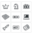 Playing chess and modern technology icons set vector image vector image