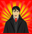 pop art man vampire in a suit on a red background vector image vector image