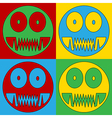 Pop art monster icons vector image