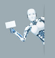 poster in hand android robot look out corner vector image vector image