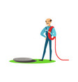 proffesional plumber man character stnding next to vector image vector image