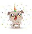 pug with unicorn horn in kawaii style vector image vector image