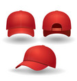 realistic red baseball cap set vector image
