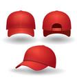 realistic red baseball cap set vector image vector image