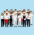 restaurant team characters in uniform group of vector image vector image
