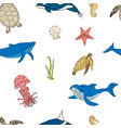 seamless background with marine life vector image vector image