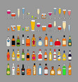 set alcohol drinks in glasses isolated on grey vector image vector image