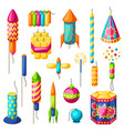 set of colorful fireworks different types vector image vector image