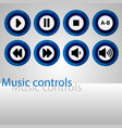 set of music control buttons vector image