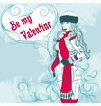 Sexy winter girl with a decorative valentine heart vector image