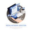 social networks isometric background vector image vector image