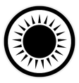 Sun button on white vector image vector image