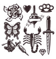 tattoo set of objects and design elements vector image vector image