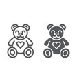 teddy bear line and glyph icon animal and child vector image vector image
