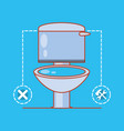 toilet with home repair icons vector image vector image