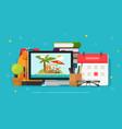 travel or journey planning online vector image