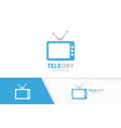 tv and display logo combination television vector image