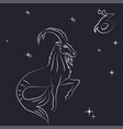 white outline of capricorn are on black background vector image vector image