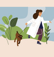 woman walks with dog in park young character vector image
