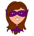 woman with purple mask on white background vector image vector image