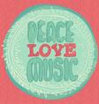 Peace Love Music emblem vector image