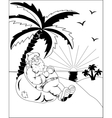 Santa Claus under a palm vector image