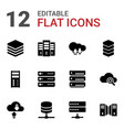 12 database icons vector image vector image