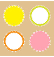 4 cute lace border round labels vector image vector image