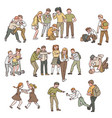a set situations conflict and fights abuse vector image