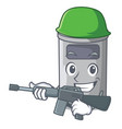 army steel trash can with lid cartoon vector image