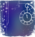Background with a clock in blue color vector image vector image